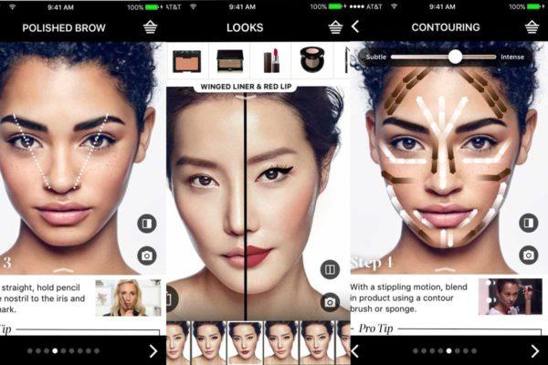 aplicación móvil de Sephora para probar distintos productos en los modelos